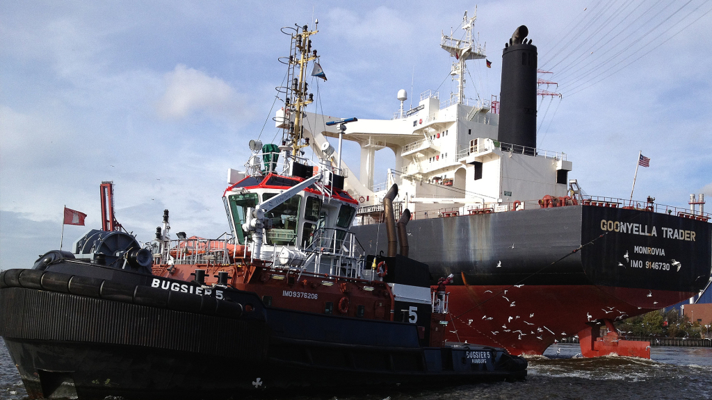 Schlepper und Containerriese